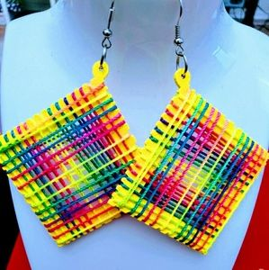 Yellow wood thread hook dangle earrings